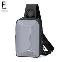 FRN 2019 Fashion Stereoscopic antitheft Chest Bag Men Casual Shoulder Crossbody Bag USB Charging Waterproof Travel Messenger Bag