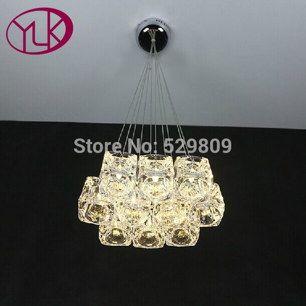 Youlaike Modern LED Chandelier For Living Room Flush Mount Hanging Cube Crystal Lamps Dining Room Lustres De Cristal Home Light led chandeliers for dining room bedroom kitchen white color k9 crystal chandelier light for home decoration lustres para quarto