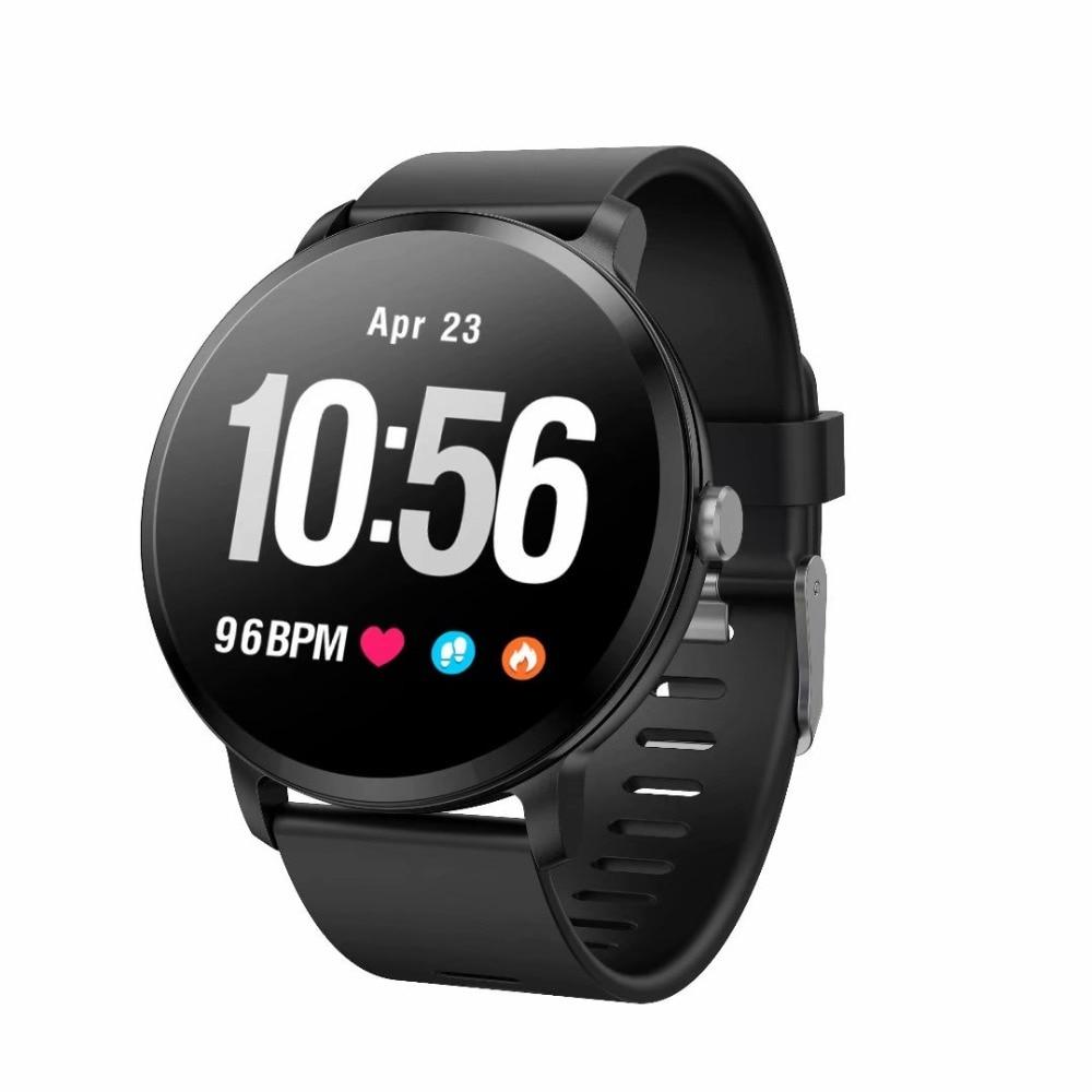 V11 montre intelligente verre trempé activité Fitness tracker sport smartwatch IP67 étanche moniteur de fréquence cardiaque hommes femmes