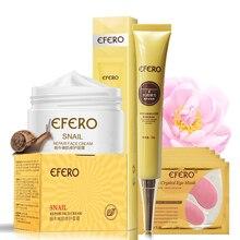 Snail Cream Moist Face Cream Whitening+Eye Cream Faced Anti Aging Anti Wrinkle+Crystal Collagen Eye Mask EFERO