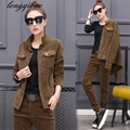 2017 Spring and Autumn Slim new women's corduroy suit large size fashion leisure two-piece Jacket + pants