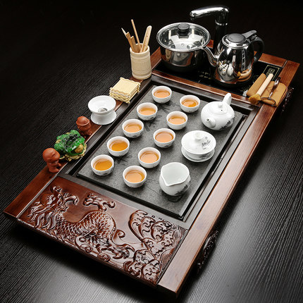 Kung Fu Purple Sand Tea Set Ceramic Teapot Teacup Simple Household Solid Wood Tea Tray Induction Cooker Four-in one