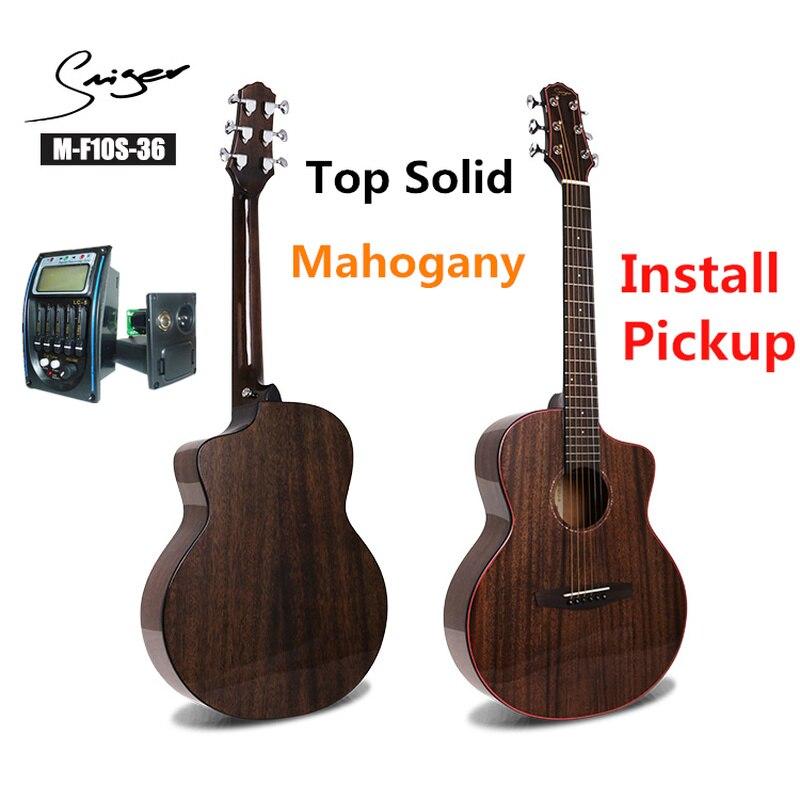 Guitare de voyage acoustique solide acajou électrique acier-ficelle 36 pouces Mini Guitarra 6 cordes Folk Pop installer pick-up haute brillance