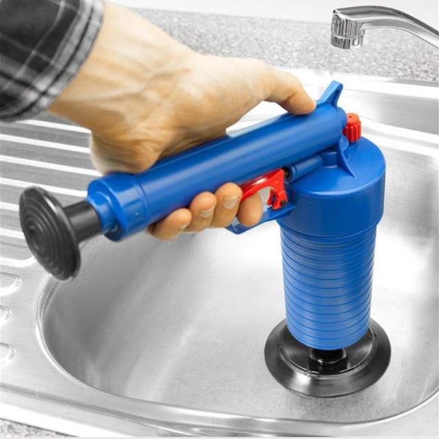 Toilets Cleaner tool High Pressure Air Drain Blaster  ABS Plastic Drain Cleaner Clogged Pipes and Drains 4  Size Adaptor WC clea