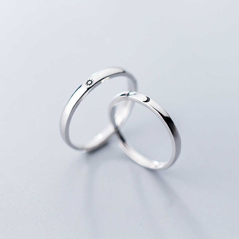 Modian Genuine 925 Sterling Silver Classic Romantic Adjustable Sun & Moon Couple Lover Finger Ring For Women Wedding Jewelry