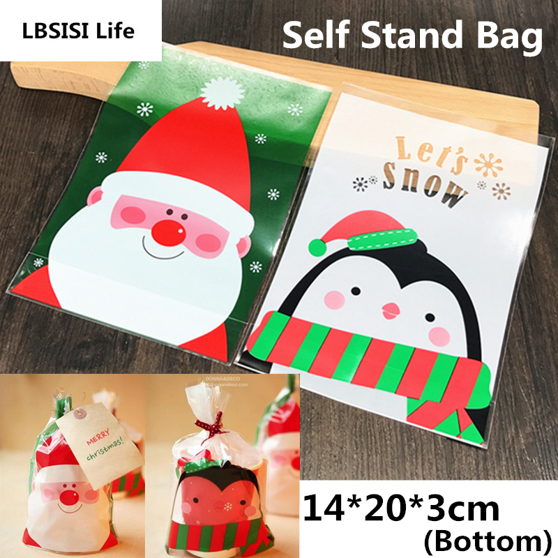 100pcs 14*20cm Christmas Tree Penguin Snow Plastic Flat Pocket Candy Cookie Bag Gift Packaging Bags New Year Party Supplies