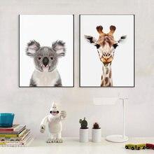 Cow Giraffe Koala Panda Animal Potter Art Canvas Poster Print Wall Picture Modern Home Room For Living Bedroom Decor