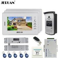 JERUAN 7 дюймов ЖК дисплей цветной экран видеофонная дверная система Комплект 3 монитор Водонепроницаемый 700TVL RFID Доступа ИК Камера 1V3