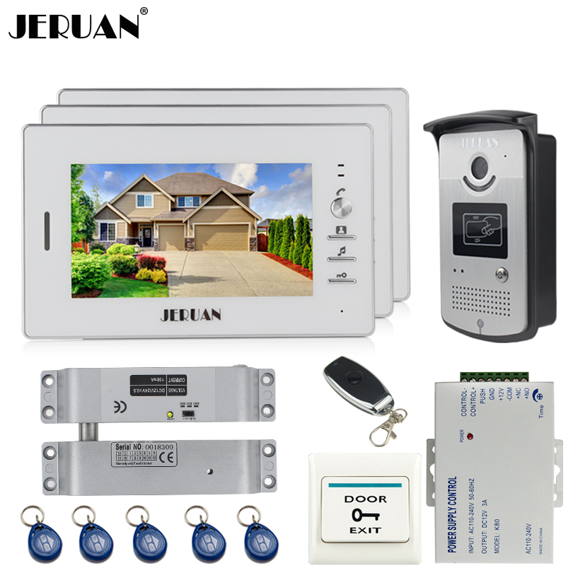 JERUAN 7 inch LCD color screen video door phone intercom system kit 3 monitor waterproof 700TVL RFID Access IR Camera 1V3 jeruan home 7 video door phone intercom system kit 1 white monitor metal 700tvl ir pinhole camera rfid access control in stock