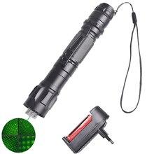 Высокая мощность Зеленая лазерная указка 10000 м 5 мВт повесить типа для использования на открытом воздухе на больших расстояниях лазерный прицел Звездное голова + 18650 батарея + зарядное устройство