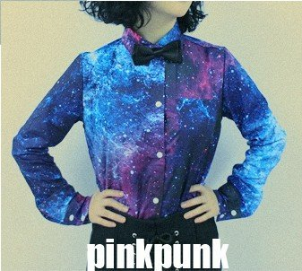 Free Shipping 2013 New Arrival Good Quality Mysterious Blue Sky Galaxy Star Thin Fashion Woman Shirt / Fashion Blouse