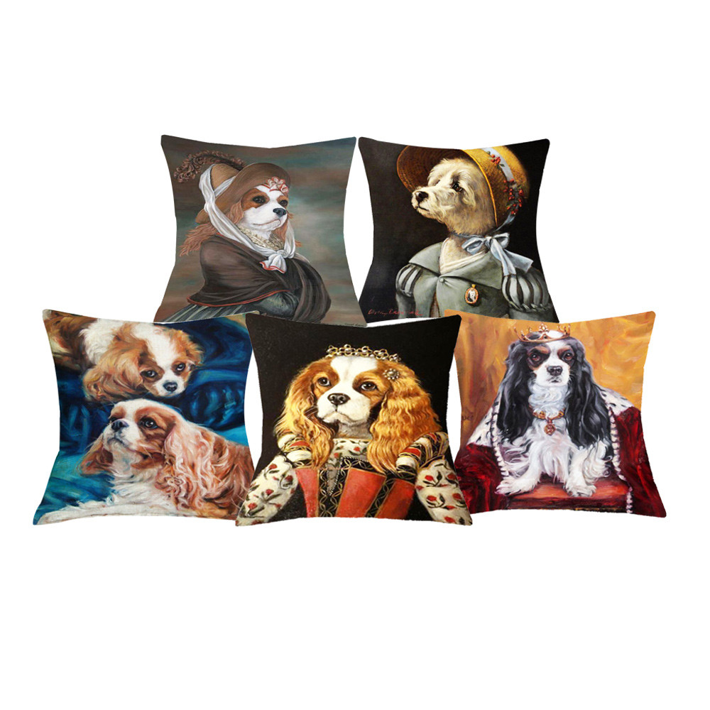Table & Sofa Linens Home Textile High Quality Cute Charles Spaniel Dog Prints Cushion Cover Home Office Sofa Decoration Cotton Linen Pillow Cases Gift 45x45 Cm