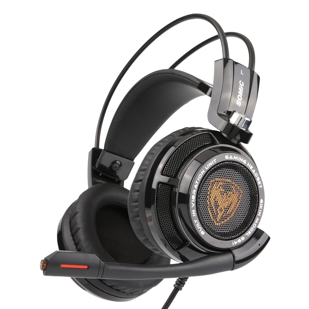 SOMiC G941 Original Headset 7.1 Virtual Surround Sound Headband Gaming Headphone with USB Vibrating Microphone LED Light