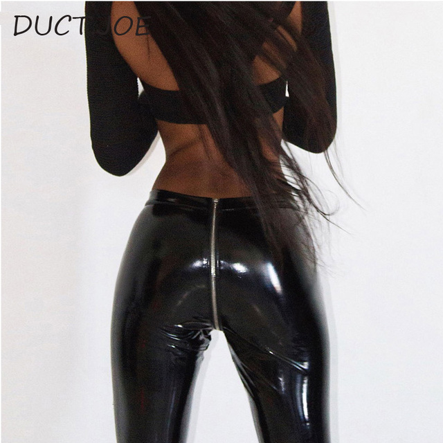 DUCTJOE 2 Colors Leggins For Women Sexy Hip Push Up Leather High Waist Women's Leggins High Quality Casual Sexy Leggings Spring