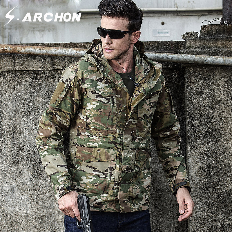 S.ARCHON M65 Autumn Winter Military Field Jackets Men Hooded Waterproof Windproof Tactical Pilot Jacket Male Camo Army Clothing outdoor men us army military tactical m65 jacket camping detachable lining male jackets overcoat multi pocket hooded pilot coat