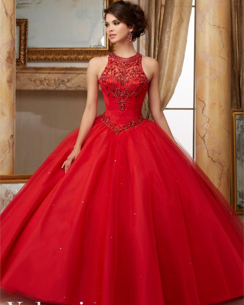 Scarlet Red Corset Quinceanera Dress Simple Jeweled Beaded ...