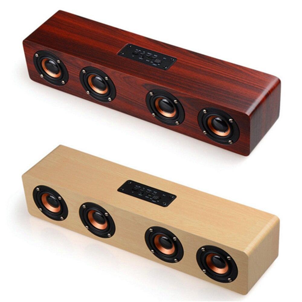 SYMRUN HiFi Holz Soundbar Drahtlose Bluetooth Lautsprecher Mit ...