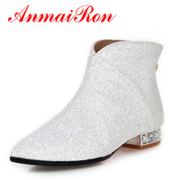 ANMAIRON FashionPointed Toe Zippers Flats Ankle Boots For Women 4 Colros White Shoes Woman Winter Warm