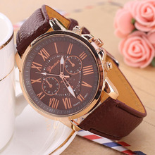 2017 The Lastest nine colors Round Fashion Womens Leather Stainless Steel Dress Quartz Analog Wrist Watches hot