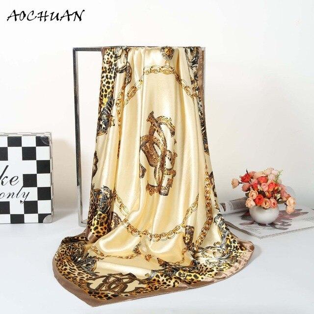 a45c25260548 Imitation soie satin Grand Foulard Carré Foulard De Luxe Marque châle D été  foulards femmes
