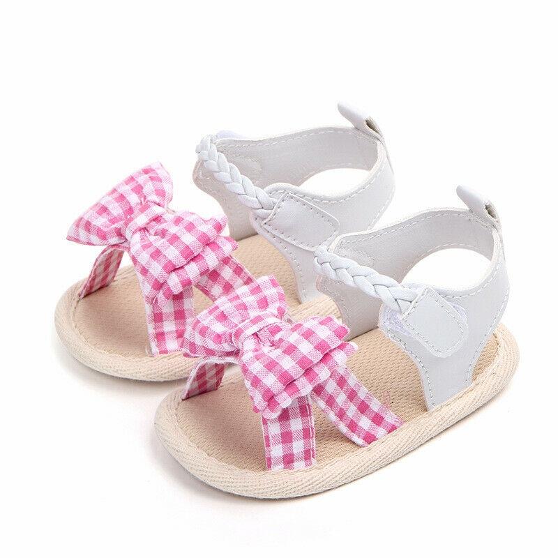 Newborn Infant Baby Girls Sandals Plaid Bowknot Sandals Casual Outdoor Sandals Soft Sole Anti-Slip Sandals Fashion Kids Sandals