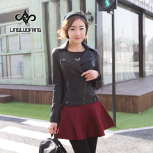 2017 womens spring motorcycle leather clothing female short design PU outerwear 15H1088