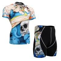 Men S Sports Training Clothing Set Quick Dry Running Tee Shirt Shorts Compression Rash Guards MMA