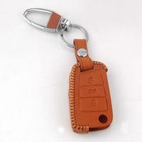 BBQ@FUKA Brown Leather 3 Botton Flip Remote Key Holder Cover Fob Case For Golf 7 MK7 GTI Car