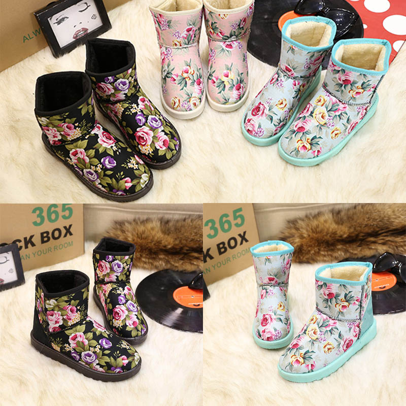 Liren Ankle Snow Boots Women Winter Women Shoes Warm Fur Snow Boots Round Toe botas mujer Low Heel Winter Boots For Women in Ankle Boots from Shoes