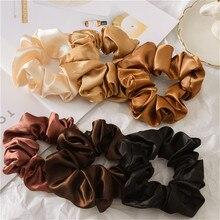Женские мягкие шелковые галстуки для волос, однотонные элегантные волосы, летние Галстуки для девочек, заколка для волос, зажим для волос аксессуары, веревка, резинка, Очаровательная лента