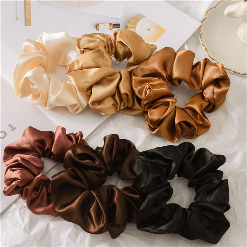 Woman Soft Silk Hair Ties Solid Elegant Hair Ties Summer Girls Hair Band Ponytail Holder Hair Accessories Rope Gum Charming Band