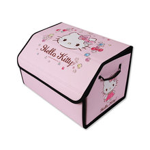 E-FOUR Cartoon Car Storage Box for Lady Interior Accessories PVC+BOARD Trunk Organizers Stowing Tidying Elegant Girls Style