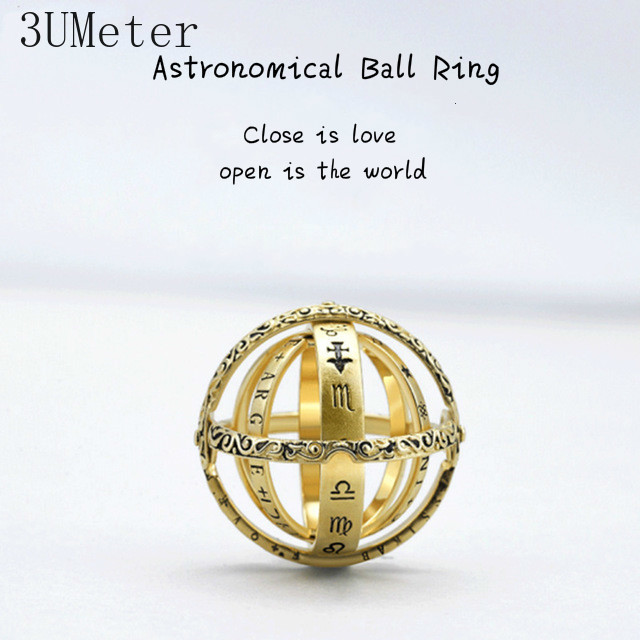 3UMeter 925 Silver Astronomical Ball Ring For Lovers 16th Century German Love Ring Vingate Simple Couple Ring Drop Shipping in Wedding Bands from Jewelry Accessories