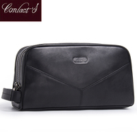Women Travel Cosmetic Bag Double Zipper Design Make Up Bags For Girl Genuine Leather Wash Organizer Toiletry Bag Large Capacity