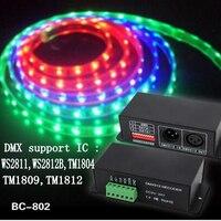 LED WS2811,WS2812B,TM1804,TM1809,TM1812 WS2812B DMX DECODER Decoder led pixel DMX512 Controller DC5V 24V ,BC 802 1809