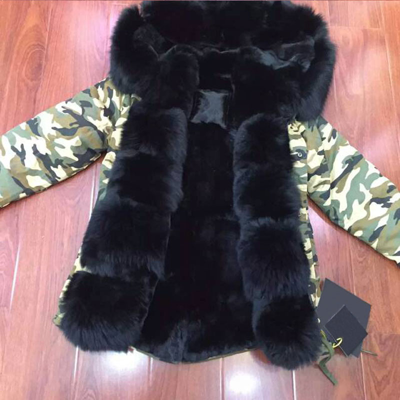 Camouflage Parka Fashion Winter MR Fur Parka,Detachable Black Fox Collar&Hood, Russia Coat Top Selling