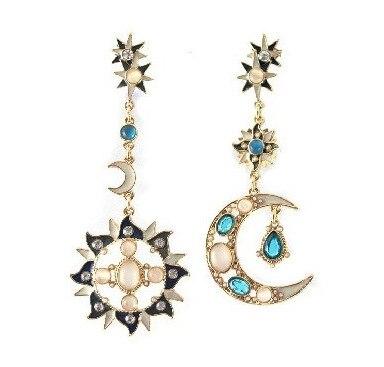 Brand Long Stars Crystal Drop Earrings Bohemian Sun Moon For Women Bijoux Whole 5e067