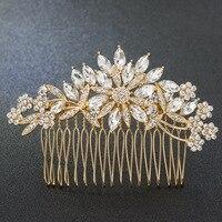 Gold Tone Rhinestone Crystals Flowers Wedding Bridal Hair Side Comb Hairpins Women Hair Accessories Jewelry GT4390GOL