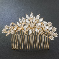 Gold Tone Rhinestone Crystals Flowers Wedding Bridal Hair Side Comb Hairpins Women Hair Accessories Jewelry GT4390GOL