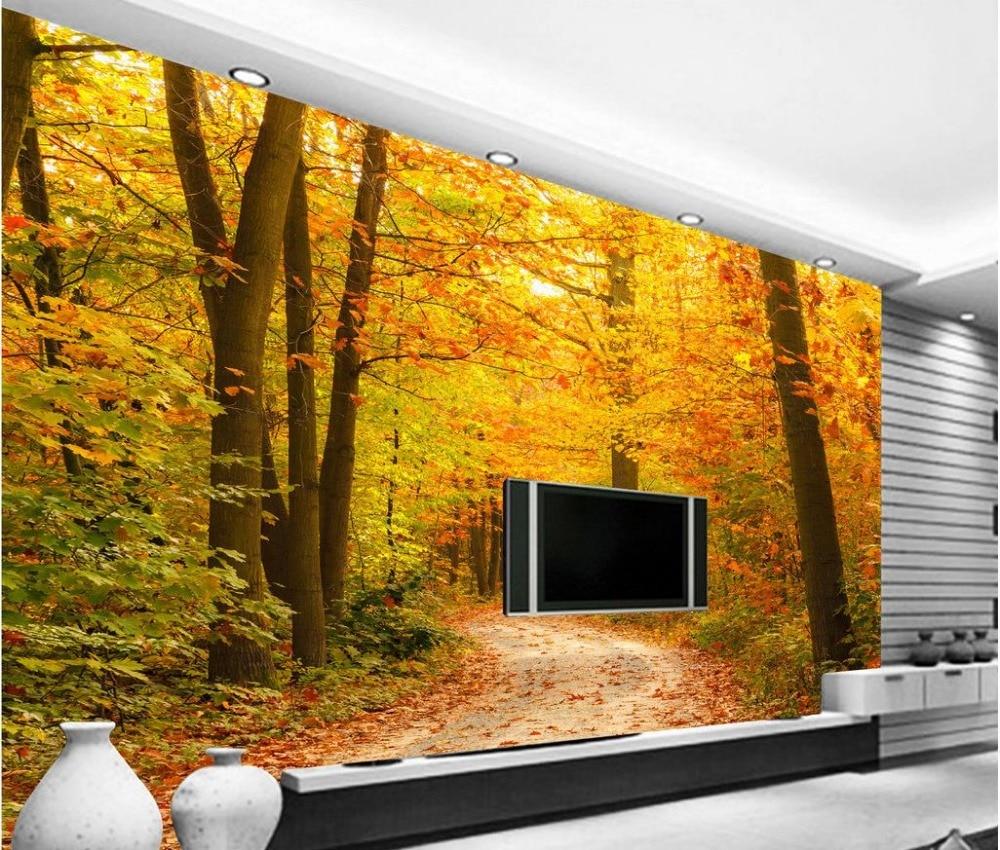 Home Decoration 3d customized wallpaper Maple Tree path custom 3d ...