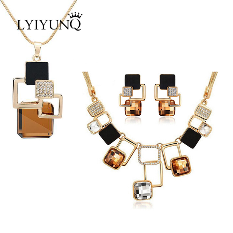 LYIYUNQ Europe and America Geometric Jewelry Sets Fashion Temperament Necklaces & Pendants & Earrings For Women Jewelry Set pair of stylish cart and letters pendants earrings for women