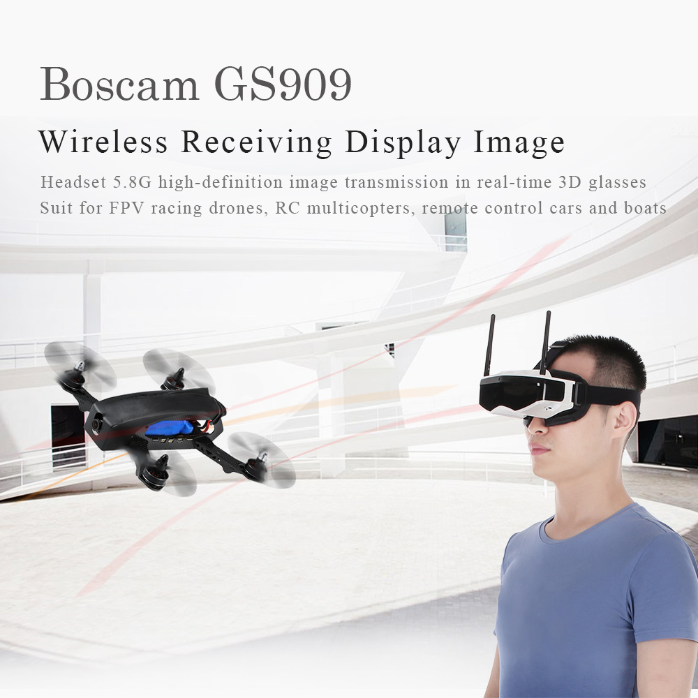 Boscam GS909 5.8G 32CH 3D Video FPV Goggles Glasses with Double Transmitting Lens 2D/3D Free Switching