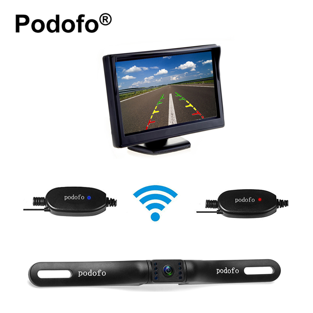 Podofo Wireless Reverse Car Rear View Camera 5 TFT Rearview Mirror Monitor HD Video Parking 7 LEDs Night Vision + Backup Camera 2 4ghz wireless 4 3 car vehicle rearview mirror monitor w 7 led night vision camera pal ntsc