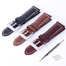 New 22mm 24mm Anti Sweat Genuine leather Watch Band Strap Bracelet With Buckle / Clasp PAM / Tissot For Any Watches + Tool все цены