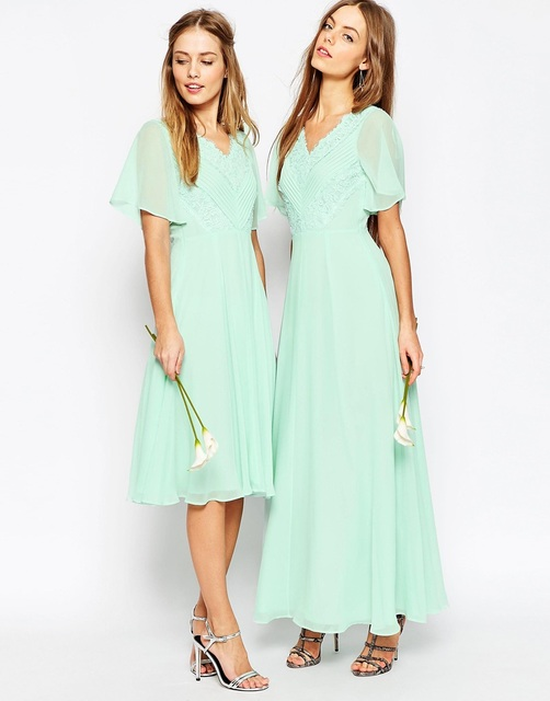 2cc669f501d 2016 Mint Green New Arrival Charming Lace Applique Chiffon A Line Floor  Length Cap Sleeves Long Bridesmaid Dresses For Bridal