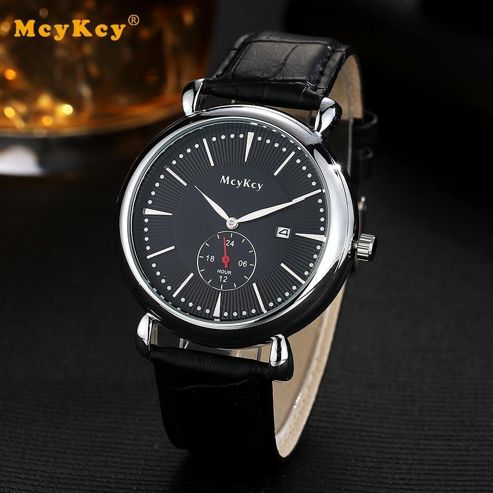 Mcykcy Brand Fashion Silver Watch For Men Leather Clock Wristwatches Sport Luxury Dress Black Mens