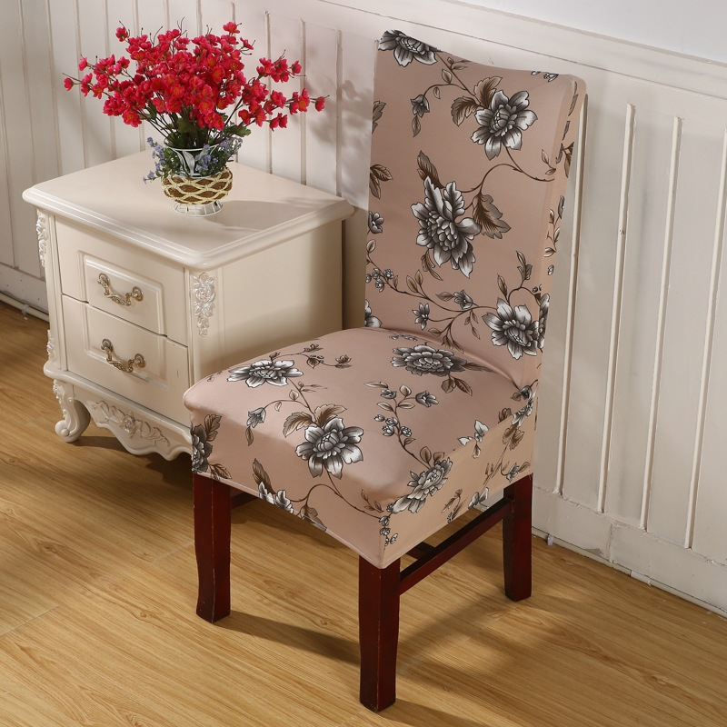 Brown Flower Chair Covers Cheap Jacquard Stretch For Dining Room Decoration Short Half Machine