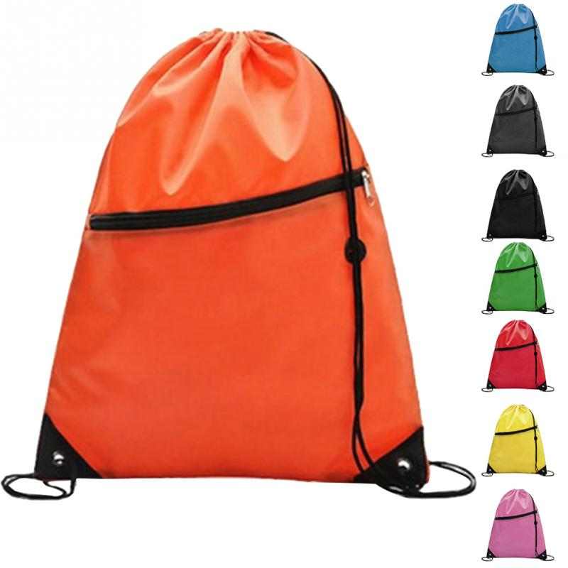 Drawstring Bag Sports Gym Backpack Waterproof String Bundle Pocket Pouch With Zipper For Men Women Students Traveling Cycling