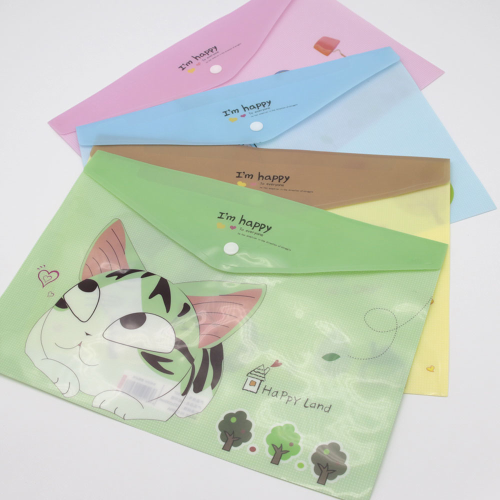 1PC Korean Cute Cheese Cat File Bag Folder Document Filing Products Kawaii PVC A4 Stationery Bag Office School Supplies comix 10pcs a4 pvc zipper document bag file folder filing products office accessories stationery school supplies material 40f56