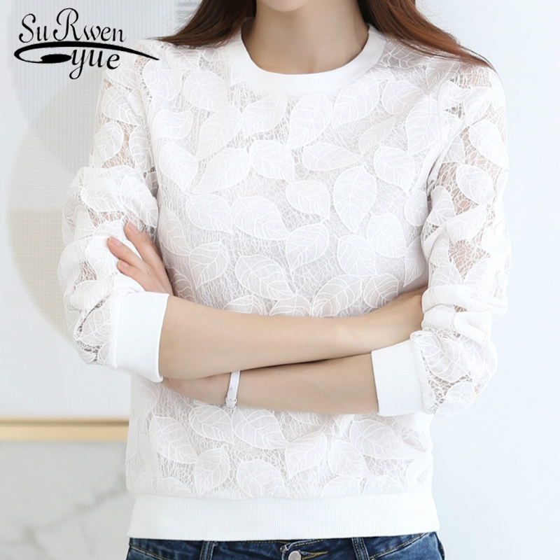 2018 Fashion Lace Blouses women Shirt Female tops long sleeve white women Chiffon blouse shirt blusas women's clothing 883H 25